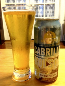 The Golden Road Cabrillo Kolsch poured into a glass.